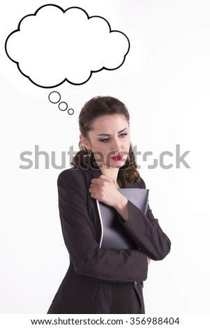 Upset businesswoman with folder of documents