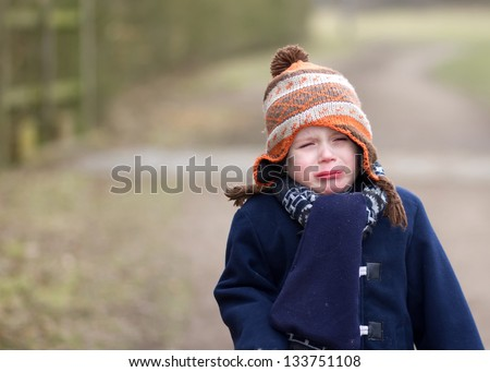 Upset little boy crying out loud - stock photo