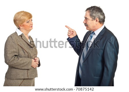 Upset manager mature man accuse his employee woman isolated on white background
