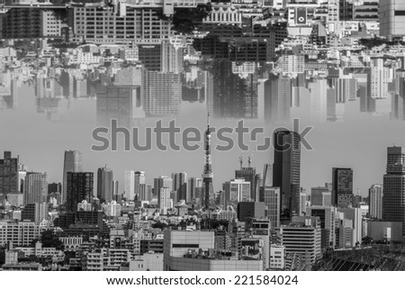 upside down city,Tokyo skyline with Tokyo Sky Tree, the highest free-standing structure in Japan. - stock photo