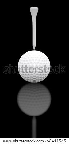 Upside down golf ball and tee arrangement sitting on a shiny black surface.