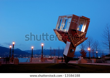 Upside Down House - Device to Root Out Evil in Coal Harbor Park, Downtown Vancouver - stock photo
