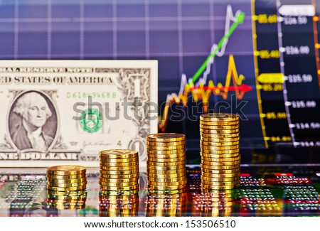 Uptrend financial chart, one-dollar banknote, stacks of golden coins . Selective focus - stock photo