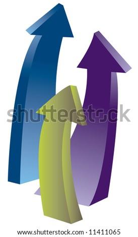 upward arrows - stock photo