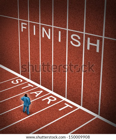Upward climb business idea to overcome adversity as a businessman at the start line of a track and field path facing an obstacle to achieving a planned strategy for success and to go to the finish. - stock photo
