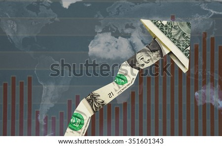 Upward pointing dollar arrow over world map and 