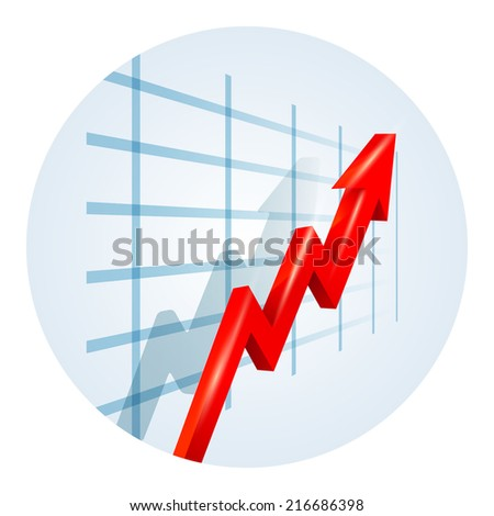Upward trending red dimensional zigzag arrow on a business graph showing growth  improvement  success and development viewed at an oblique angle leading away from the viewer illustration - stock photo