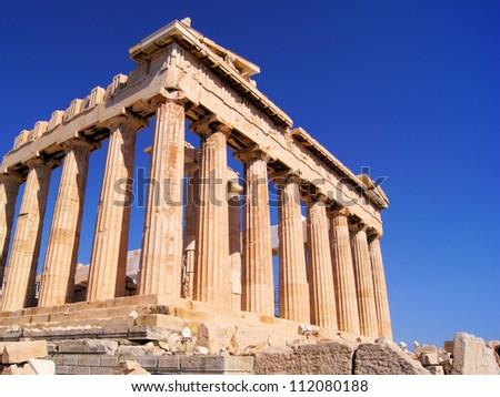 Upward view of the ancient Parthenon at the acropolis, Athens, Greece - stock photo