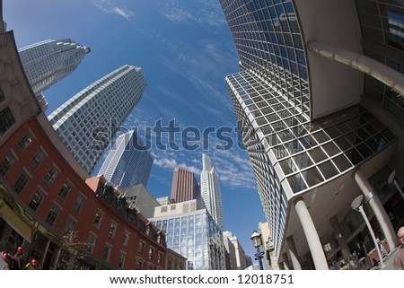 Upward- you look you will see the skyscrapers of Toronto. - stock photo