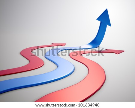 Upwards arrow or graph - 3d rendered illustration - stock photo