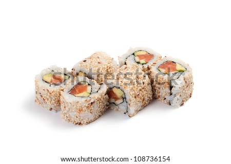 Uramaki. California salmon. On a white background. Salmon, avocado, cucumber, mayonnaise, sesame.