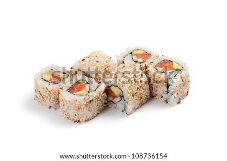 Uramaki. California salmon. On a white background. Salmon, avocado, cucumber, mayonnaise, sesame. - stock photo