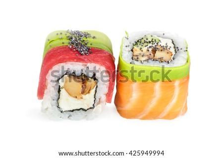 Uramaki maki sushi, two rolls isolated on white - stock photo