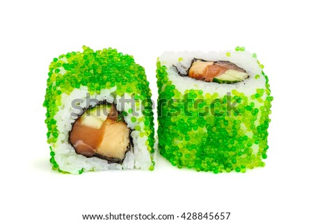 Uramaki maki sushi, two rolls isolated on white