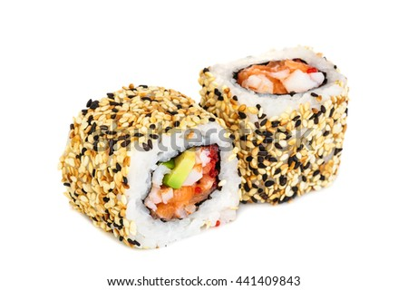 Uramaki maki sushi, two rolls isolated on white. Philadelphia cheese, crab meat, salmon, tobiko, avocado and sesame