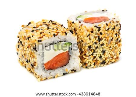 Uramaki maki sushi, two rolls isolated on white. Philadelphia cheese, tuna, cucumber and sesame - stock photo