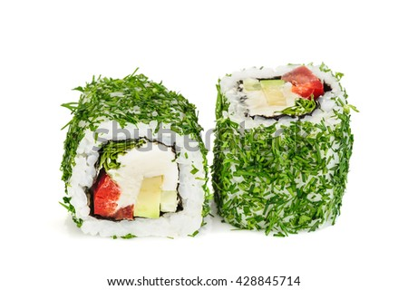 Uramaki vegetable maki sushi with dill, two rolls isolated on white - stock photo