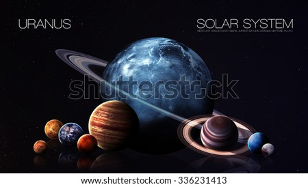 Uranus - 5K resolution Infographic presents one of the solar system planet. This image elements furnished by NASA.