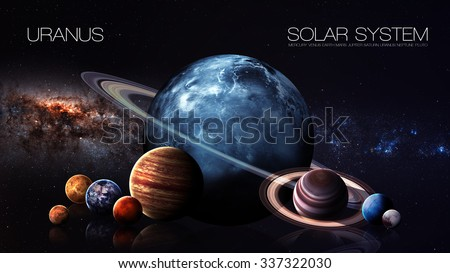 Uranus - 5K resolution Infographic presents one of the solar system planet. This image elements furnished by NASA. - stock photo