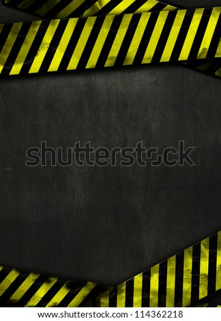 Urban abstract metal texture with dark gradient and yellow striped tape (do not enter sign). - stock photo
