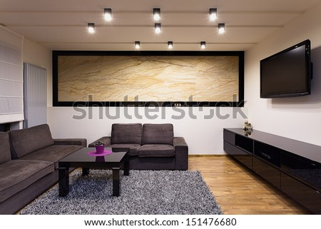 Urban apartment - comfortable living room with grey sofas - stock photo