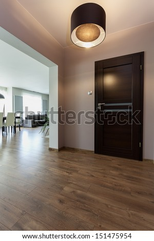 Urban apartment - corridor and view at modern living room - stock photo