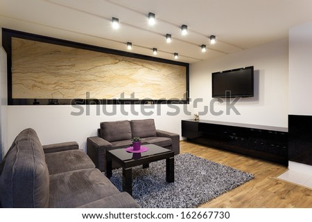 Urban apartment - cosy living room with comfortable couch - stock photo