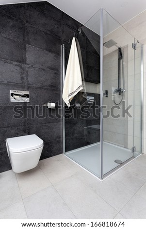 Urban apartment - glass shower and white toilet - stock photo