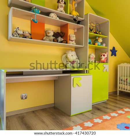 Urban apartment - green and yellow baby room