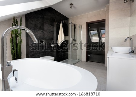Urban apartment - interior of a luxury bathroom - stock photo