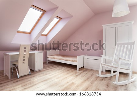 Urban apartment - interior of a pink girl's room - stock photo