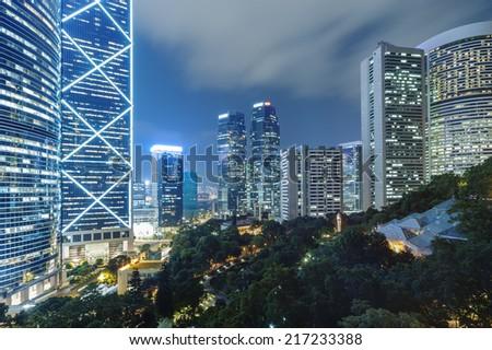 Urban area of Hong Kong City at night  - stock photo