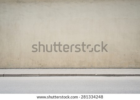 Urban background. Empty street wall and pavement  - stock photo