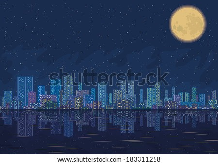 Urban background, night cityscape with skyscrapers, starry sky reflecting in blue sea and big bright moon. - stock photo
