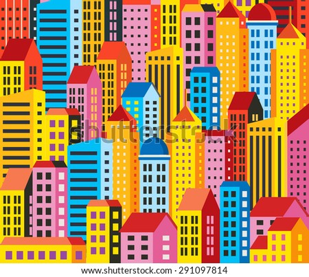 Urban background of buildings, houses, skyscrapers. For decoration and creativity in urban and industrial design theme. - stock photo