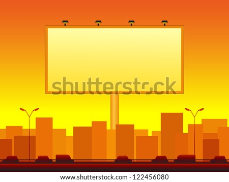 urban background with city landscape and billboard - stock photo