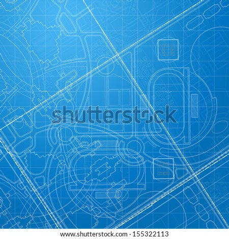 Urban Blueprint. Architectural background. Part of architectural project, architectural plan, technical project, drawing technical letters, design on paper, construction plan
