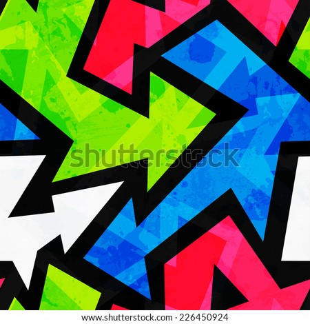urban bright geometric seamless pattern (raster version) - stock photo