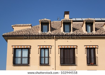 Urban building in Spain with landscape in the city - stock photo