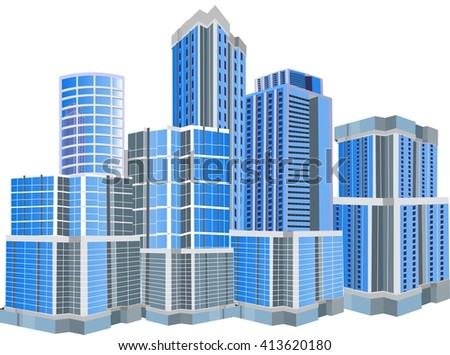 Urban buildings isolated on white vector illustration
