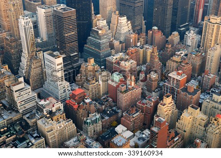 Urban City architecture background. New York City Manhattan skyline aerial view with street and skyscrapers. - stock photo