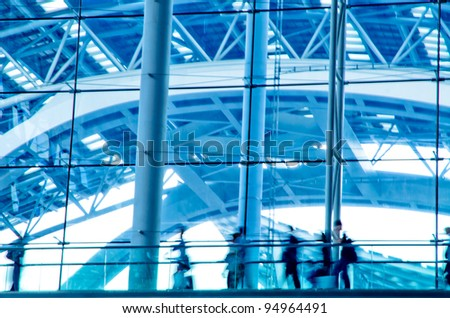 urban city business people abstract background blur motion - stock photo
