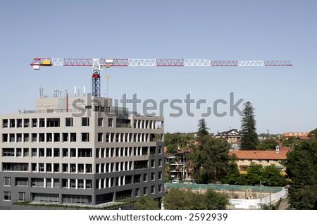 Urban City Construction With A Tall Tower Crane, Sydney, Australia - stock photo