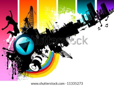 Urban city elements. - stock photo