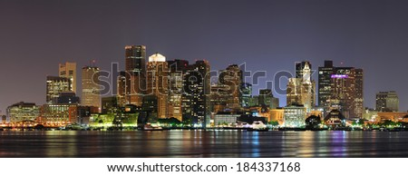 Urban city night scene panorama from Boston Massachusetts.