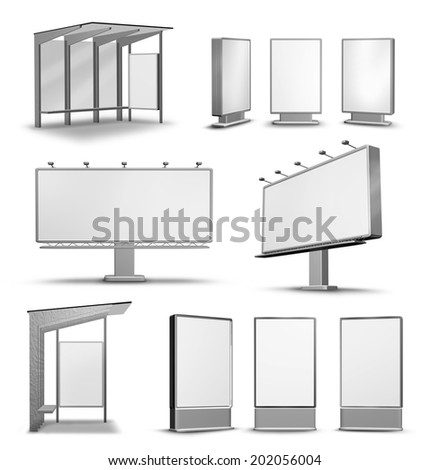 Urban city outdoor advertising media isolated on white - stock photo