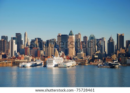 Urban City Skyline, New York City over Hudson River with boat and pier. - stock photo