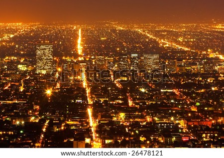 Urban City Suburbs at Night - stock photo