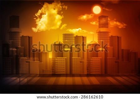 urban city with sky  - stock photo