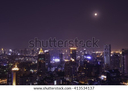 urban cityscape night view and moon light - can use to display or montage on your product